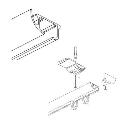 ZD-100 Szara szyna aluminiowa pojedyncza (100 cm) Creativa by Cezar