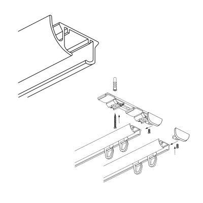 ZD2-200 Szara szyna aluminiowa podwójna (200 cm) Creativa by Cezar